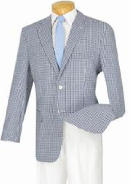 1970s Men's Suits History | Sport Coats & Tuxedos 2Button 100 Cotton Modern Check Classic Fit Sportcoat Blue-Black $141.00 AT vintagedancer.com