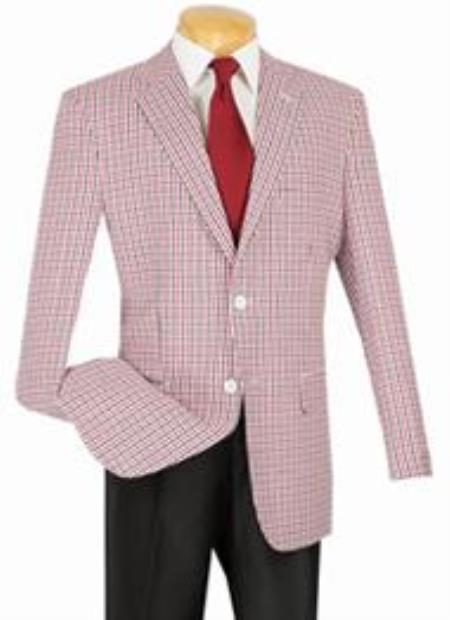 1960s Mens Suits | 70s Mens Disco Suits Modern Check Classic Fit Sportcoat Red-Black 46S $141.00 AT vintagedancer.com
