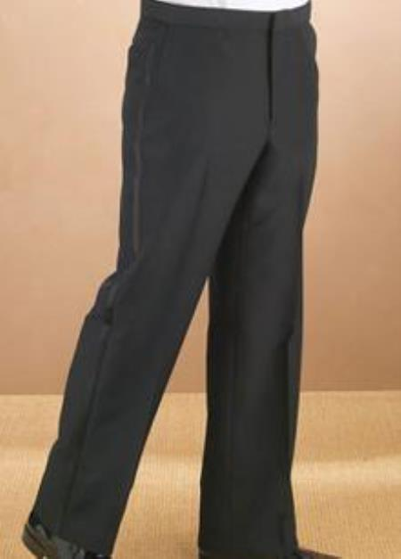 New Vintage Tuxedos, Tailcoats, Morning Suits, Dinner Jackets Polyester Plain Front Black Tuxedo Pants S $41.00 AT vintagedancer.com