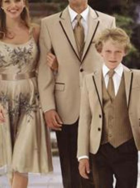 Men's Vintage Style Suits, Classic Suits Mens 2 Button Tan  Beige Brown or Black Trim Plus Pants $497.00 AT vintagedancer.com