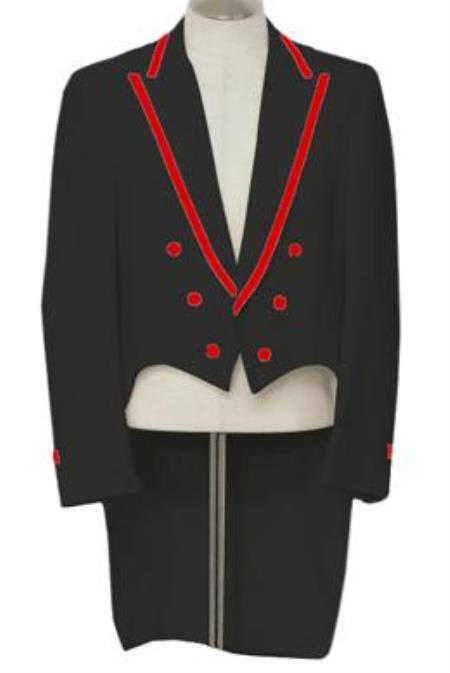 1970s Men's Suits History | Sport Coats & Tuxedos 3-Piece Black Tailcoat Tuxedo With Red Trim 46S $497.00 AT vintagedancer.com