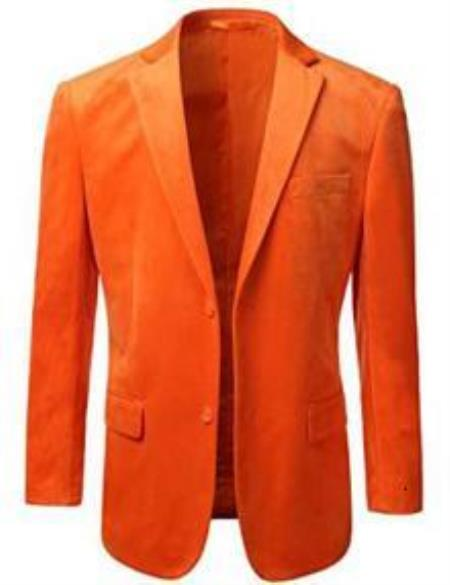 1960s Mens Suits | 70s Mens Disco Suits Mens American Regular-Fit 2 Button Velvet Blazer Orange 46S $101.00 AT vintagedancer.com