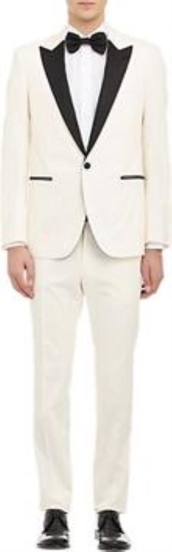1960s Mens Suits | Mod, Skinny, Nehru Mens Cream  Off White  Ivory Tuxedo 1 Button With Black Peak Lapel $497.00 AT vintagedancer.com