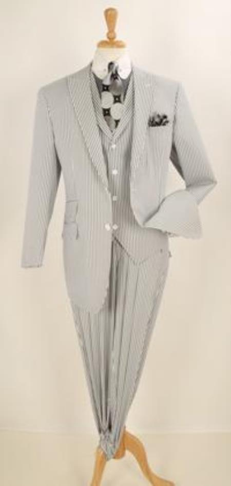 1920s Mens Suits | Gatsby, Gangster, Peaky Blinders Stay Cool Seersucker Single Breasted $201.00 AT vintagedancer.com