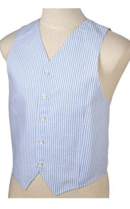 1920s Style Mens Vests Seersucker 5-Button Vest for Sandal Mens Suit Vest WhiteLight Blue  $81.00 AT vintagedancer.com