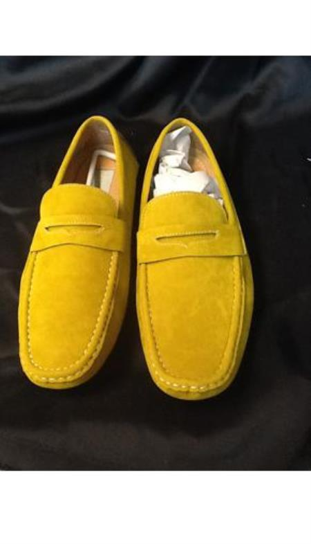 Mens Vintage Style Shoes & Boots| Retro Classic Shoes Mens Yellow  Gold Stage Party Classic Oxford Loafer Slip On Shoes 9.5 $101.00 AT vintagedancer.com