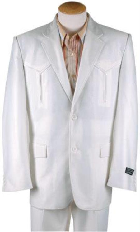 Men's Vintage Style Suits, Classic Suits Mens Polyester Western Suit White 46S $141.00 AT vintagedancer.com