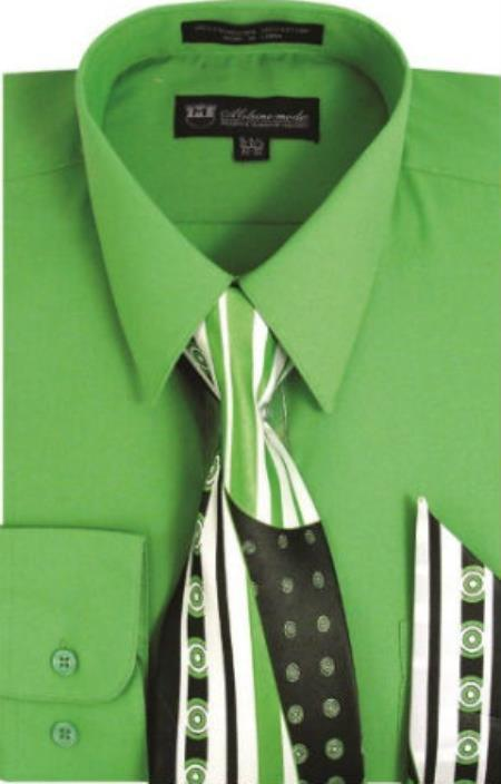 Vintage Shirts – Mens – Retro Shirts Milano Moda Classic Cotton Dress Shirt with Ties and Handkerchiefs Apple Green 46S $51.00 AT vintagedancer.com