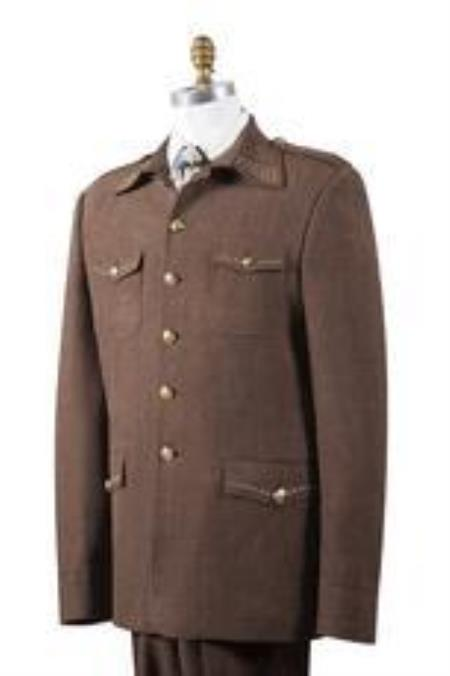 1960s Mens Suits | 70s Mens Disco Suits Safari Mens Brown Nailshead Military Pocket Suit 46S $177.00 AT vintagedancer.com