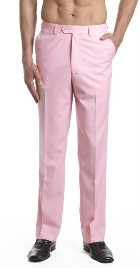 1950s Men's Clothing Mens Dress Pants Trousers Flat Front Slacks Pink S $91.00 AT vintagedancer.com