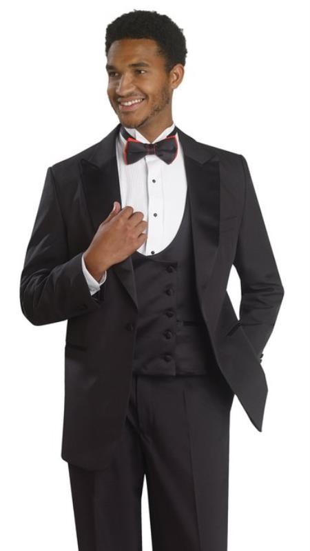 Edwardian Titanic Mens Formal Suit Guide Mens 1 Button Tuxedo Double Breasted Black Formal Suit 46S $161.00 AT vintagedancer.com