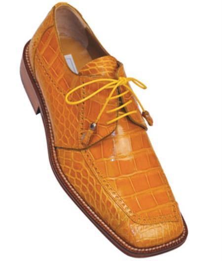 Mens Vintage Style Shoes & Boots| Retro Classic Shoes Mens Ferrini F206 Alligator Brogue Shoes Caramel 9.5 $538.00 AT vintagedancer.com