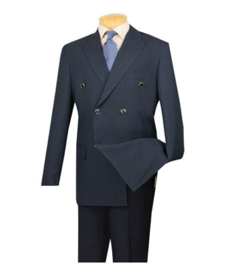Men's Vintage Style Suits, Classic Suits Lucci Mens Navy 6 Button Double Breasted Blazer 46S $141.00 AT vintagedancer.com