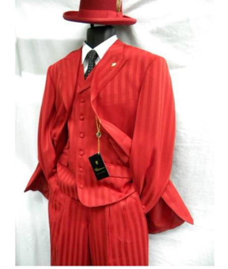 1960s Mens Suits | 70s Mens Disco Suits Falcone Mens Red Mat Vested Fashion Suit 46S $177.00 AT vintagedancer.com