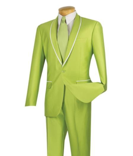 1960s Mens Suits | 70s Mens Disco Suits Mens Vinci Lime Green Tuxedo Shawl Collar Looking Slim Fit Suits  46S $152.00 AT vintagedancer.com