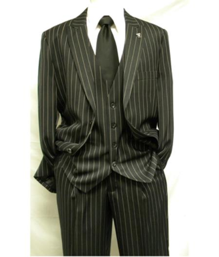 1920s Men's Suits History Mens Black and White Gangster Bold 3 Piece Fashion Suit Pleated Pant  $177.00 AT vintagedancer.com