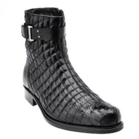 Belvedere Libero Quilted Leather & Alligator Cap Toe Boots Black