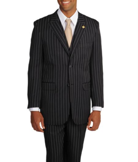 1940s Men's Suit History and Styling Tips Stacy Adams Mens BlackWhite Stripe 3-piece Suit  46S $177.00 AT vintagedancer.com