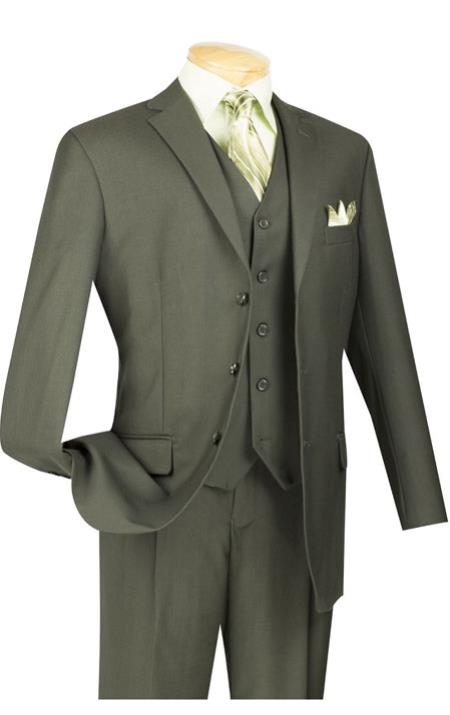 Men's Vintage Style Suits, Classic Suits Vinci Dark Olive Green Super 150s Mens 3 Piece Suit 40L $131.00 AT vintagedancer.com