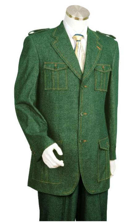 Men's Vintage Style Suits, Classic Suits Canto Olive Green Military Style Jean Suit 46S $171.00 AT vintagedancer.com