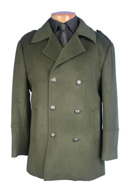 60s 70s Men's Jackets & Sweaters Mens Peacoat double breasted coat Olive Green  46S $151.00 AT vintagedancer.com