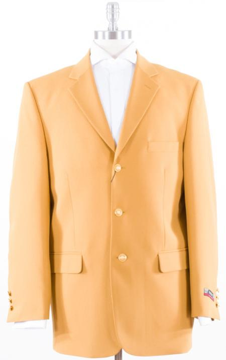 1960s Mens Suits | 70s Mens Disco Suits Mens Solid With Gold 3 Button Polyster Blazer with Mustard Coat  $127.00 AT vintagedancer.com