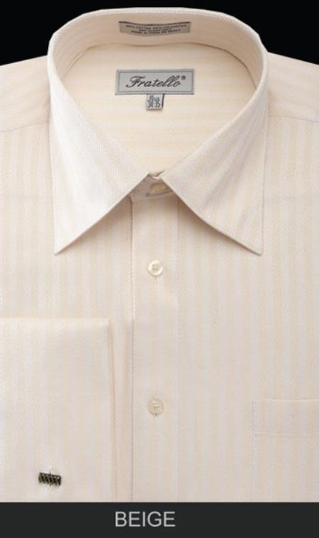 1940s Men's Fashion, Clothing Styles Mens Fratello Beige Dress Shirt - Herringbone Stripe Big and Tall Size $57.00 AT vintagedancer.com