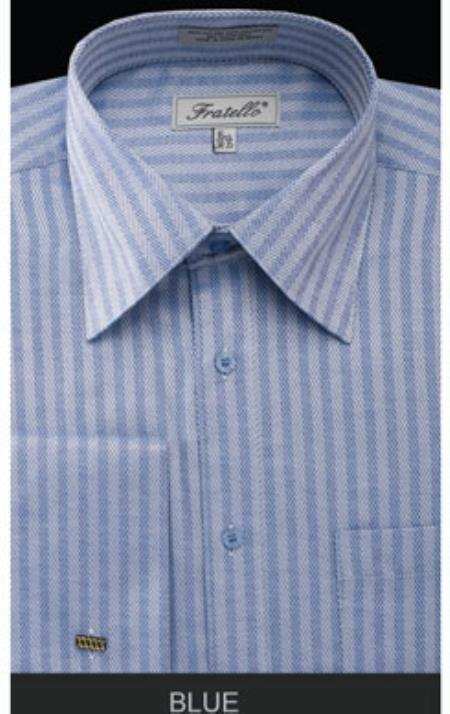 1940s Men's Fashion, Clothing Styles Mens French Cuff Blue Dress Shirt - Herringbone Big and Tall Size $57.00 AT vintagedancer.com