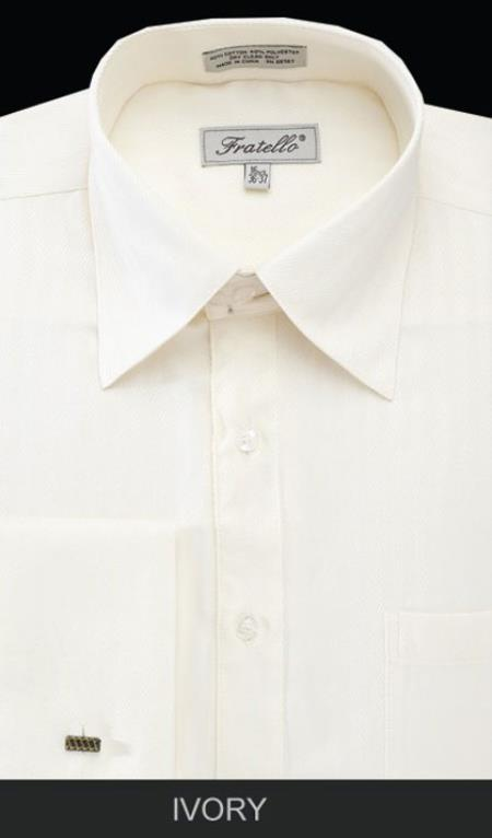1940s Men's Fashion, Clothing Styles Mens French Cuff Ivory Dress Shirt - Herringbone Big and Tall Sizes $57.00 AT vintagedancer.com