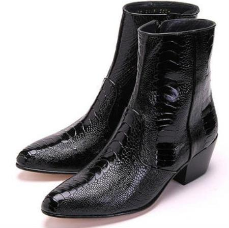 Mens Los Altos Genuine Ostrich Higher Heel Paw Black Dress Boot