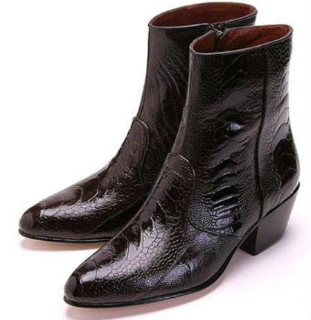 Mens Los Genuine Ostrich Higher Heel Inside Zipper Paw Boot Brown