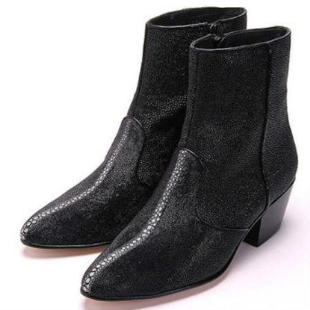 Mens Los Altos Genuine Stingray Inside Zipper Black Boot