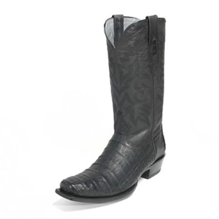 Los Altos Genuine Caiman Belly Black