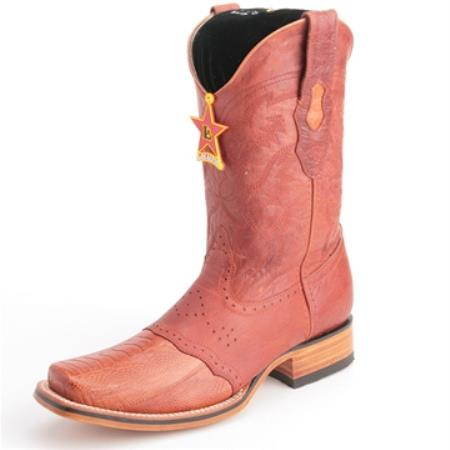 Los Altos Cognac Boots Genuine Ostrich Skin