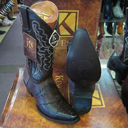 Mens King Exotic Genuine Ostrich Leg Brown Snip Toe Western Cowboy Boot
