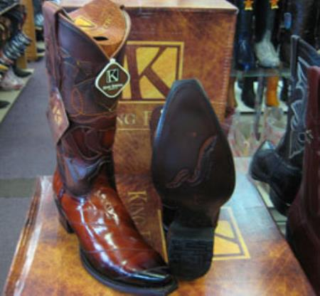 Mens King Exotic Genuinel Cognac Snip Toe Western Cowboy Boot