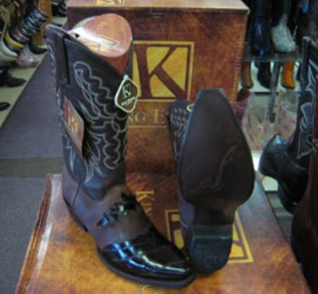Mens King Exotic Genuinel Brown Snip Toe Western Cowboy Boot