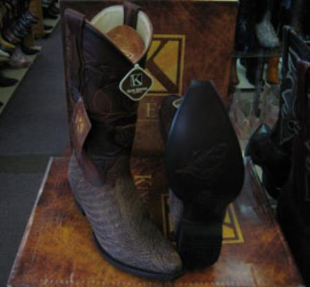 Mens King Exotic Snip Toe Genuine Shark Western Cowboy Brown Boot