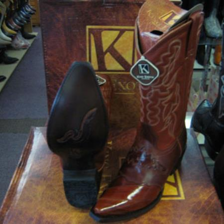 Mens King Exotic Snip Toe Genuinel Western Cowboy Cognac Boot