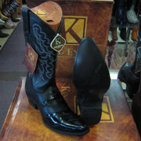 Mens King Exotic Snip Toe Genuinel Western Cowboy Black Boot