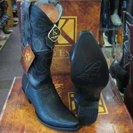 Mens King Exotic Snip Toe Genuine Shark Western Cowboy Black Boot