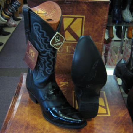Mens Genuinel King Exotic Snip Toe Western Cowboy Black Boot
