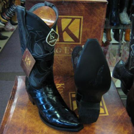 Mens Genuinel King Exotic Western Cowboy Black Boot