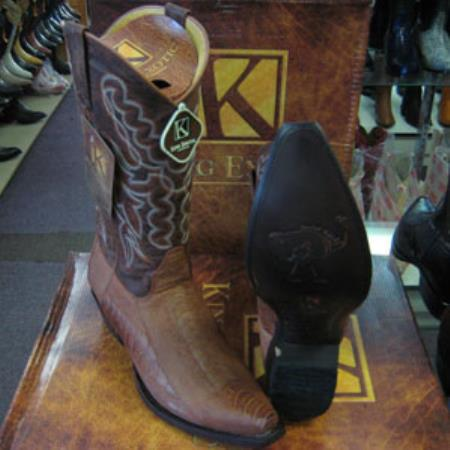Mens Genuine Ostrich Leg King Exotic Western Cowboy Cognac Boot