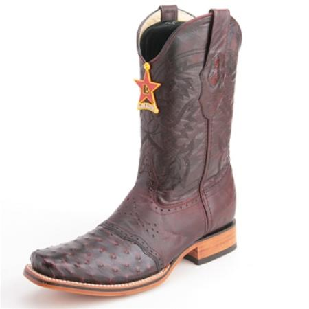 Los Altos Cherry Black Boots Genuine Ostrich Skin