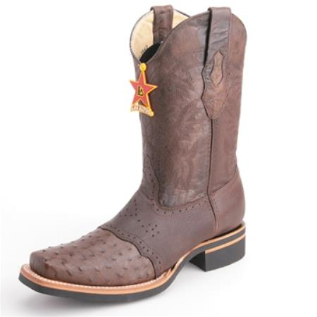 Los Altos Brown Wide Toe Boots Genuine Ostrich Skin