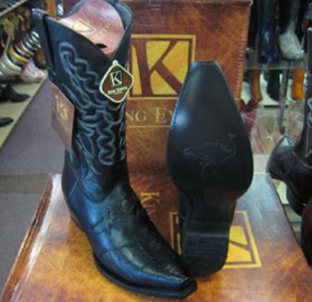 Mens King Exotic Genuine Ostrich Leg Black Snip Toe Cowboy Boot