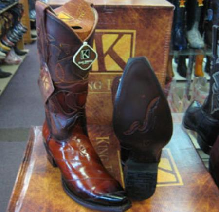 Mens King Exotic Genuine Cognac Snip Toe Western Cowboy Boot