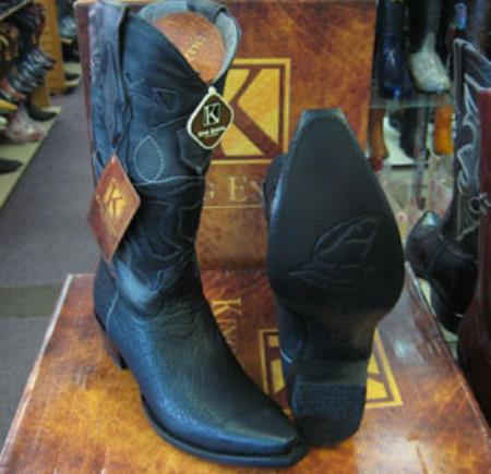 Mens King Exotic Genuine Shark Black Snip Toe Western Cowboy Boot