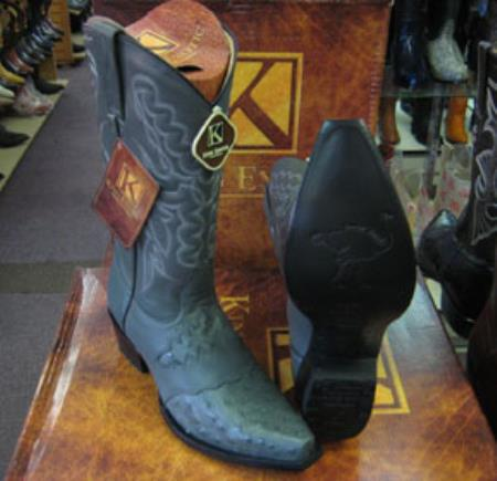 Mens King Exotic Genuine Ostrich Gray Snip Toe Western Cowboy Boot